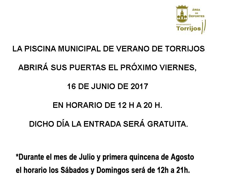 La Piscina Municipal de Verano de Torrijos abre sus puertas este viernes, 16 de junio