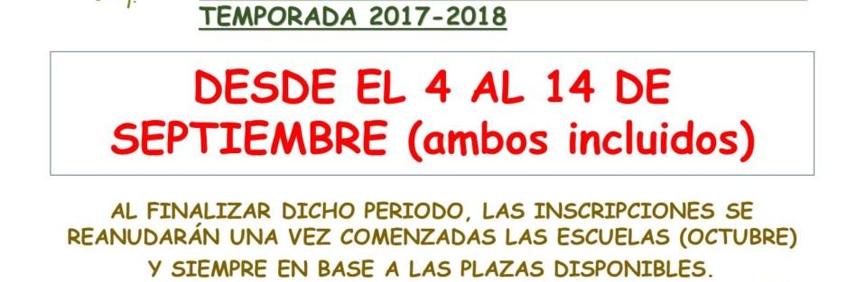 Abierto el Plazo de inscripciones  en las escuelas deportivas 2017/18