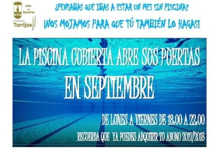 La piscina cubierta abre sus puerta en Septiembre