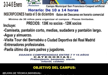 DEL 26 DE DICIEMBRE AL 5 DE ENERO SE CELEBRARÁ EL VII CAMPUS DE FÚTBOL DE NAVIDAD DE LA PEÑA MAZACOTERO