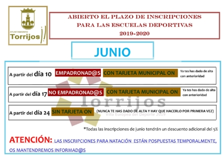 Abierto el plazo de inscripciones de las Escuelas Deportivas para la temporada 2019-2020