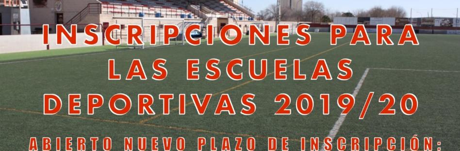 INSCRIPCIONES PARA LAS ESCUELAS DEPORTIVAS 2019/20