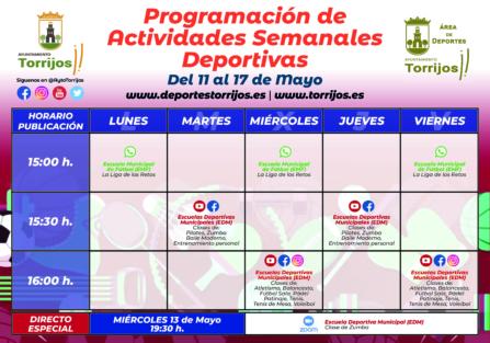 PROGRAMACIÓN DE ACTIVIDADES DEPORTIVAS SEMANALES (11-17 DE MAYO)