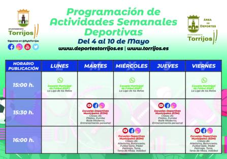 PROGRAMACIÓN ACTIVIDADES DEPORTIVAS (4-10 DE MAYO)