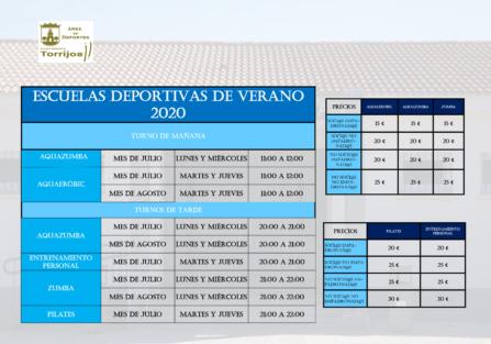OFERTA DE ACTIVIDADES DEPORTIVAS PARA EL VERANO DE 2020 (Recinto de la Piscina de Verano)