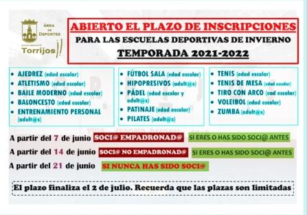 DESDE EL 7 DE JUNIO, INSCRIPCIONES EN LAS ESCUELAS DEPORTIVAS DE VERANO E INVIERNO