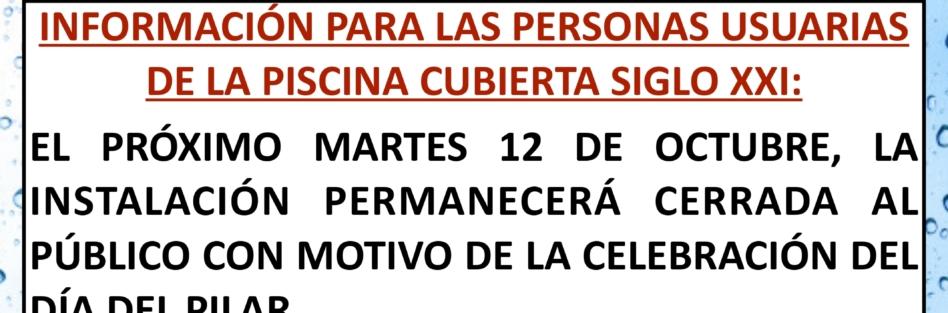 El próximo 12 de octubre, la Piscina Cubierta permanecerá cerrada